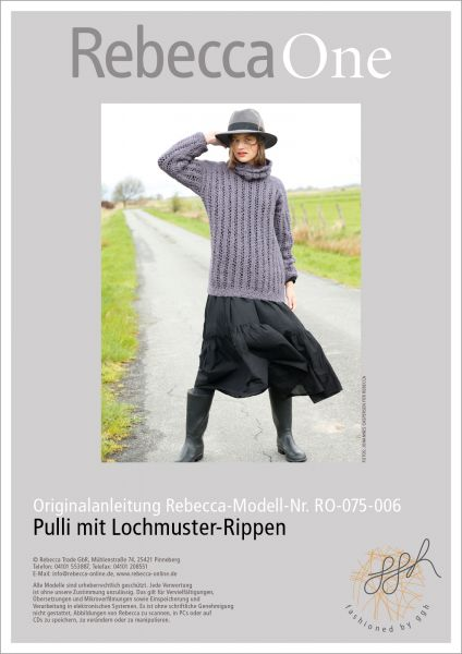 Strickanleitung - Pulli mit Lochmuster-Rippen